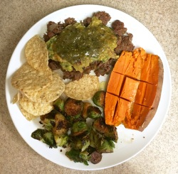 Beef,brussels, sweet potato