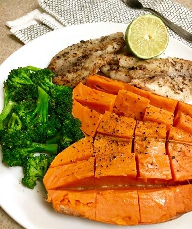 fish,sweet potato